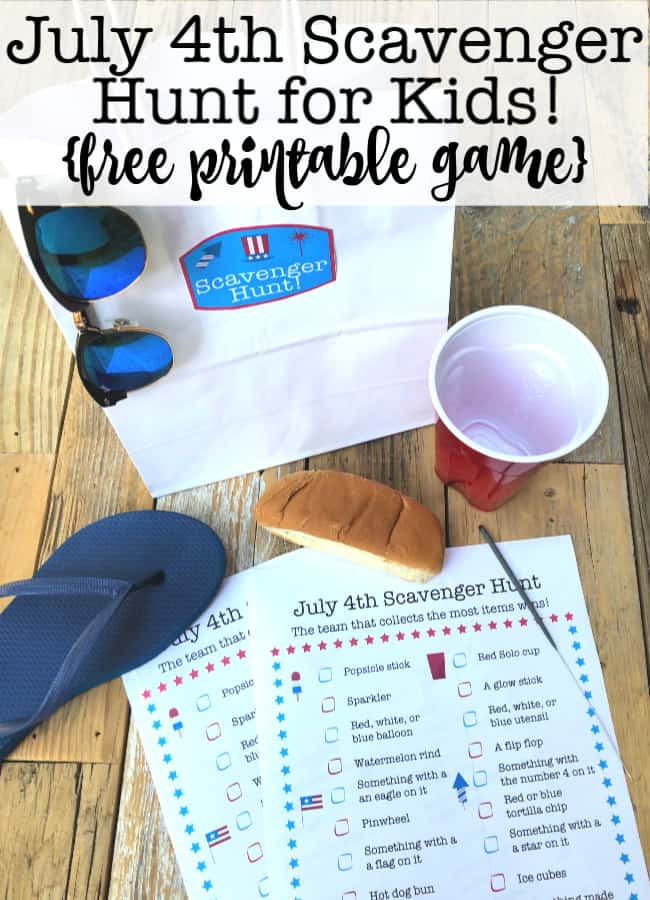Looking for a way to entertain the kids while you wait for the fireworks to start? This July 4th Scavenger Hunt game is perfect for kids!