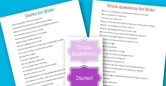 Dare kids printable challenges or 500+ Clean