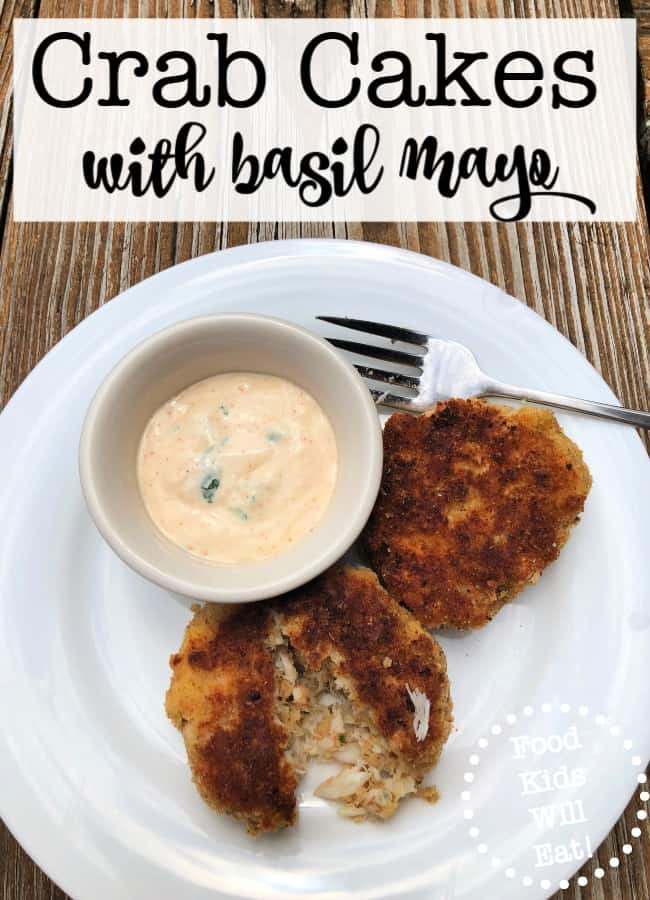 "I love to serve appetizers to my family as a fun ""snacky"" meal- and these mini crab cakes served with basil mayonnaise are a family favorite!"