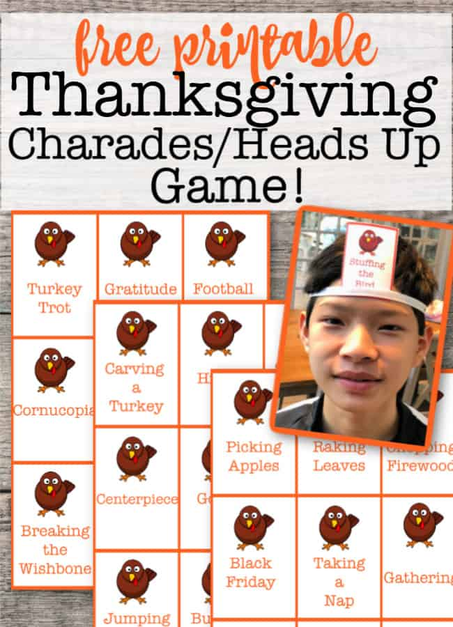 While you're in the kitchen working on preparing your family's Thanksgiving feast, it's great to have some activities planned for the kids to enjoy! This free printable Thanksgiving Charades / Heads Up game is a ton of fun for them to play!
