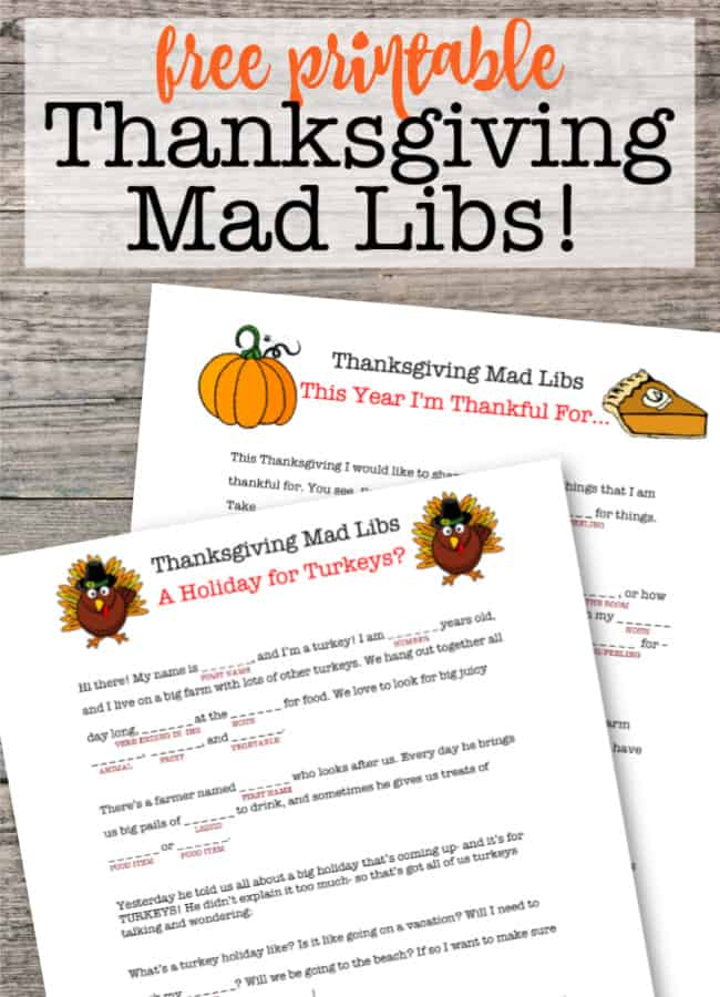 Are you looking for a fun game to play together as a family, maybe at the Thanksgiving table? These free printable Thanksgiving Mad Libs are sure to be a hit with your kids!