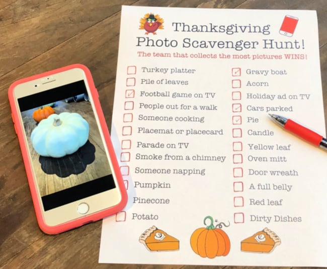 Thanksgiving Photo Scavenger Hunt