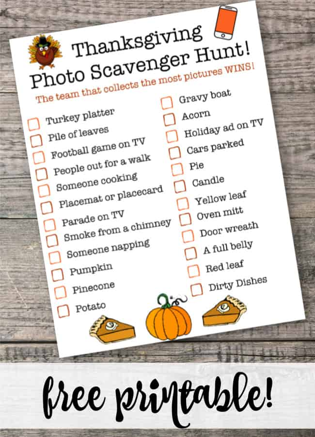 When gathering together as a family to celebrate Thanksgiving, it's fun to give the kids something unique to do until it's time to eat! This free printable Thanksgiving Photo Scavenger Hunt gives them a fun way to engage with one another- without banning their phones!