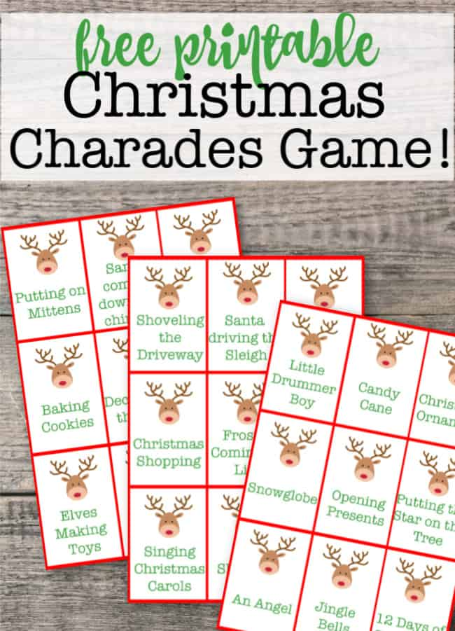 I love to have a few games organized that we can play when our extended family gets together for Christmas! And these free Christmas charades cards can be printed and played in several different ways!