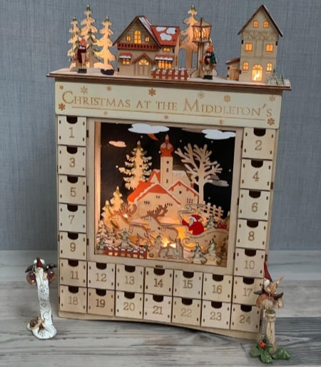 wood light up christmas countdown calendar