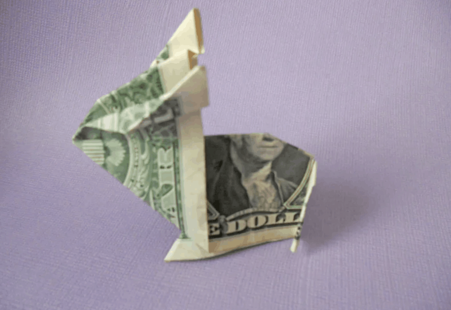 origami bunny made with cash