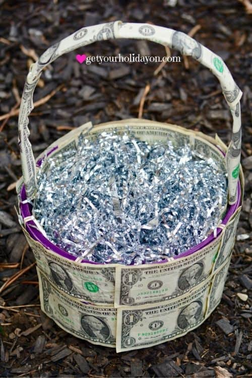 covering an easter basket in cash