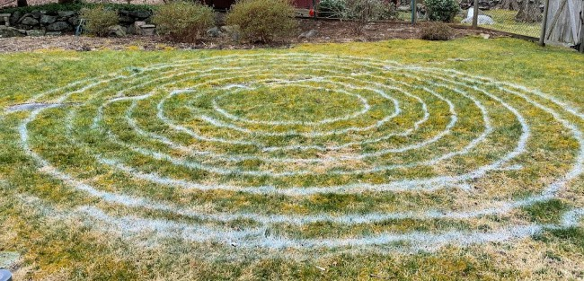 Painted 8 circles to mark off the labyrinth