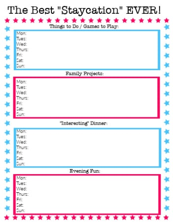 staycation printable planner